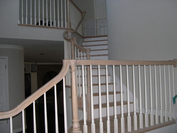 stair stained and painted white