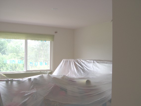 painters cover up furniture before painting
